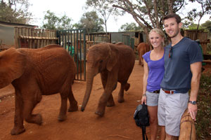 with orphans at the  Sheldrick Trust