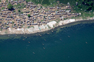 Fishing village from the air, Uganda